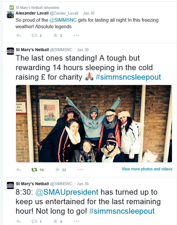 St Mary's Sleepout 2015 Twitter comments (2)