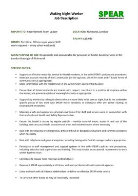 thumbnail of PWH Waking Night Worker 30hrs Job Description and Person Specification